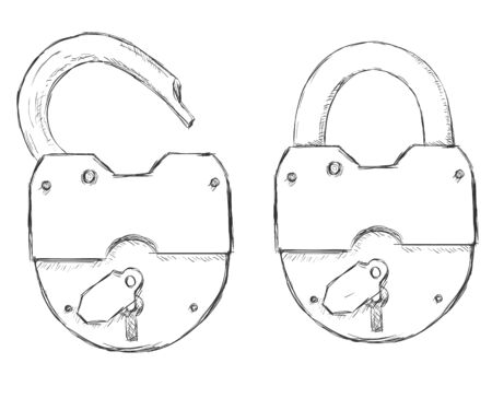Two Vector Sketch Padlocks. Open and closed padlock 일러스트