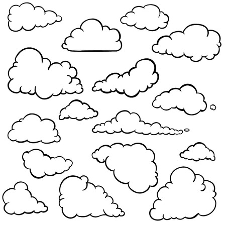 spindrift: vector set of outline clouds on White Background
