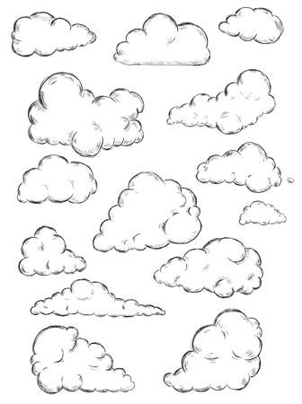 흰색 배경에 스케치 구름의 벡터 설정 일러스트