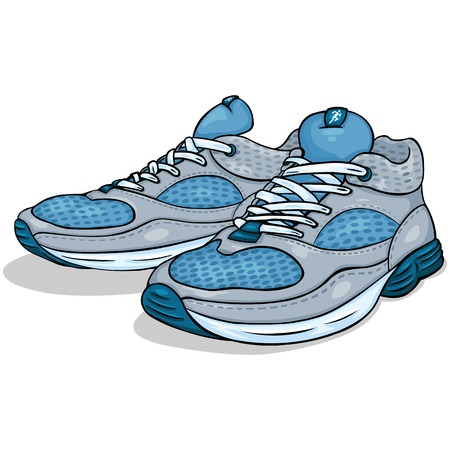 vector color cartoon illustration - running shoes on White Background