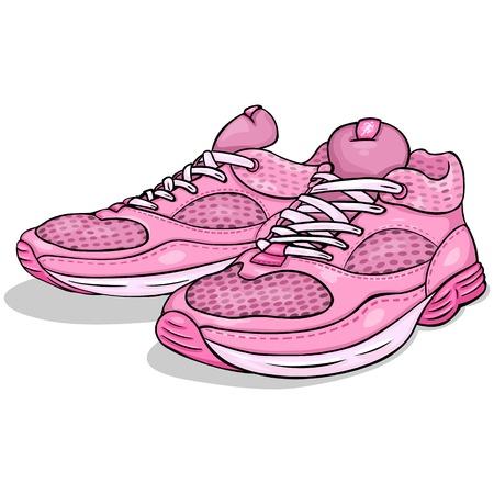 ベクトル漫画ピンク ホワイト バック グラウンドでランニング シューズ  イラスト・ベクター素材