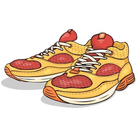 Vector Cartoon rode en gele loopschoenen op een witte achtergrond