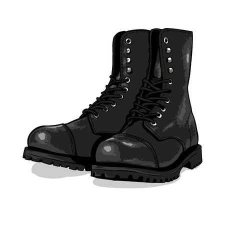 Vector Cartoon Army Boots on White Background