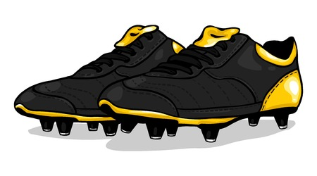 football boots: vector black football boots on White Background