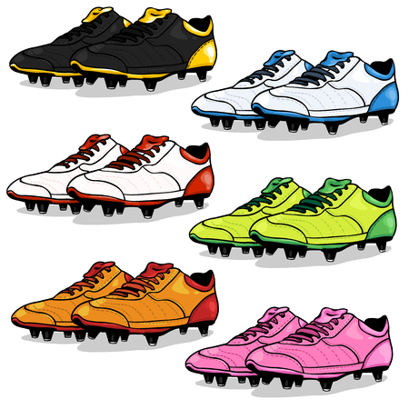 punching: Vector Set of Cartoon Soccer Boots on White Background