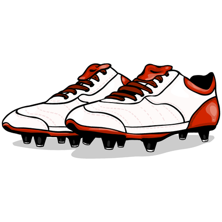 soccer boots: Vector Cartoon White and Red Soccer Boots on White Background