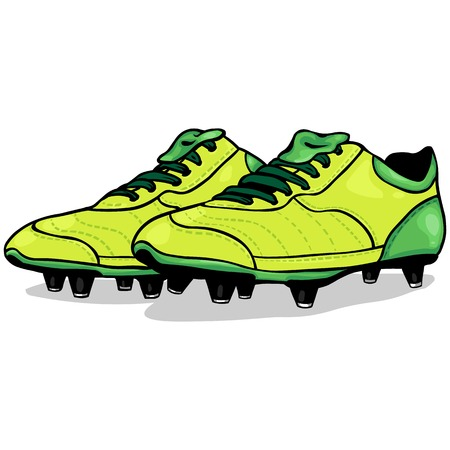 soccer boots: Vector Cartoon Light Green Soccer Boots on White Background