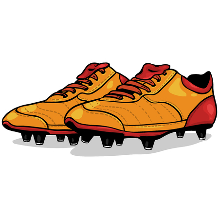 soccer boots: Vector Cartoon Orange and Red Soccer Boots on White Background