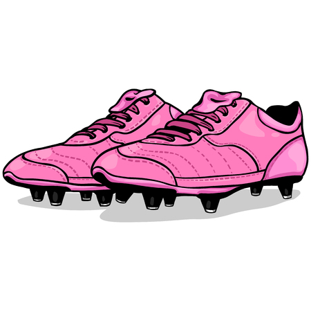 soccer boots: Vector Cartoon Pink Soccer Boots on White Background Illustration