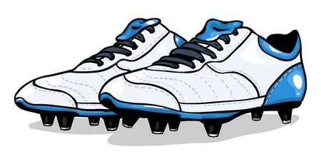 vector white football boots on White Background