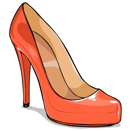 Vector Cartoon Womens Shoes on White Background