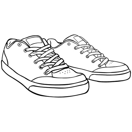 skaters: Vector Line Art Skaters Shoes on White Background