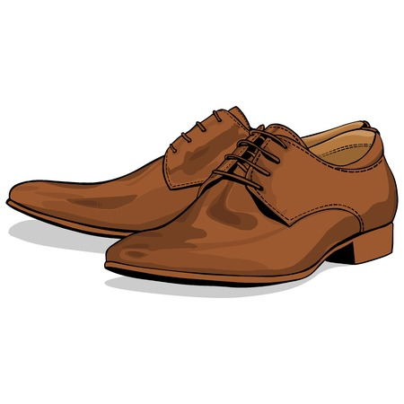 Vector Men Classical Shoes on White Background Illustration