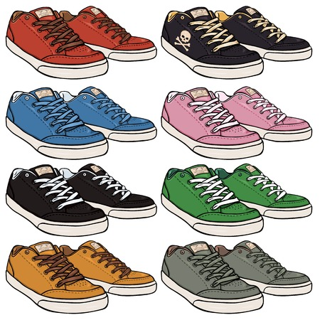 skaters: Vector Set of Cartoon Skaters Shoes on White Background