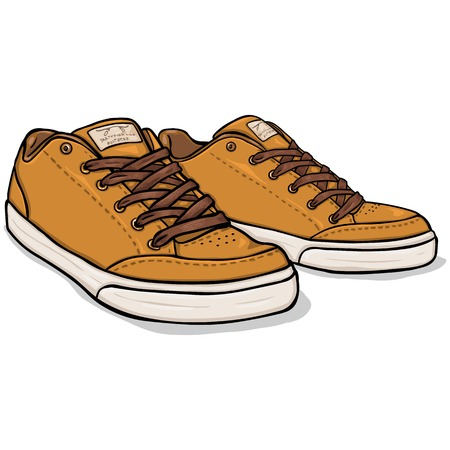 skaters: Vector Cartoon Brown Skaters Shoes on White Background