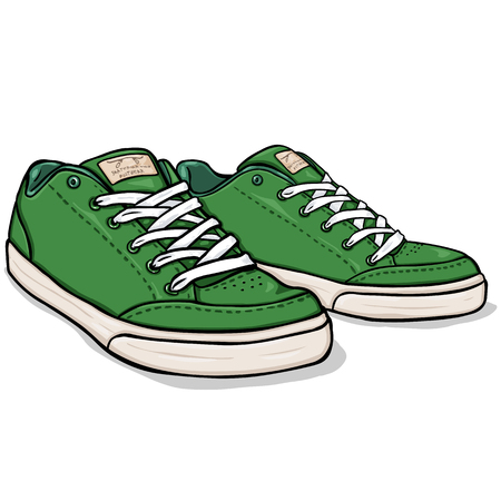 Vector Cartoon Green Skaters Shoes on White Background