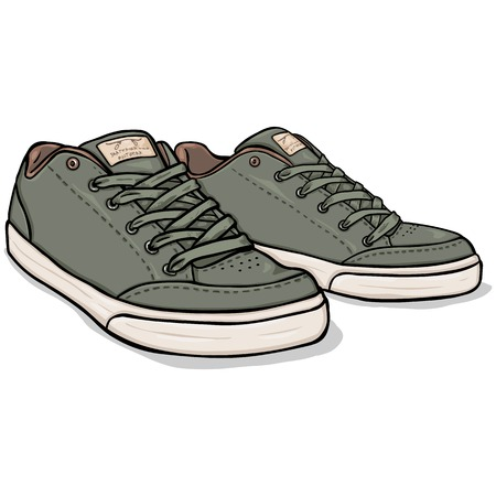skaters: Vector Cartoon Khaki Skaters Shoes on White Background