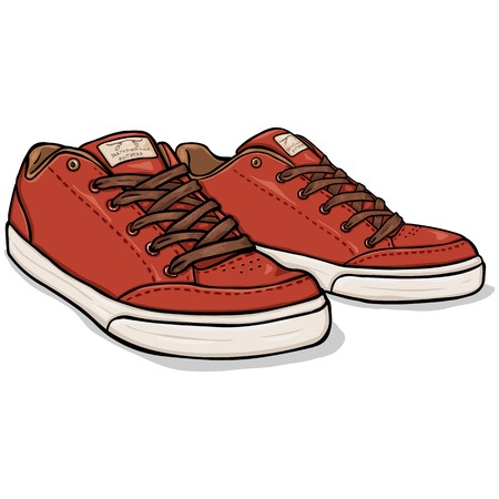 Vector Cartoon Red Skaters Shoes on White Background