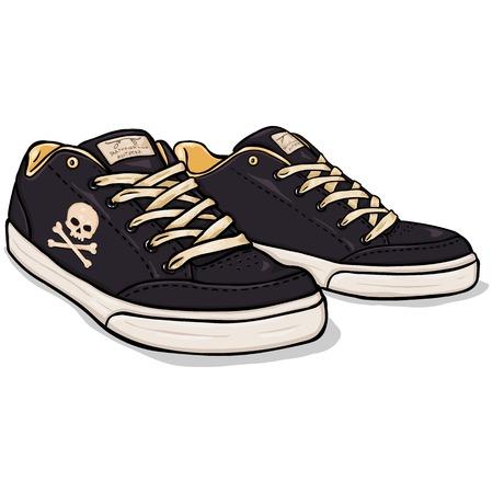 Vector Cartoon Black Skaters Shoes with Skull and Cross Bones Stock Illustratie