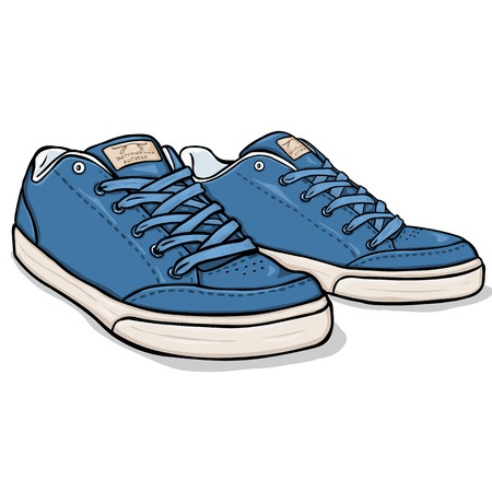 skaters: Vector Cartoon Blue Skaters Shoes on White Background Illustration