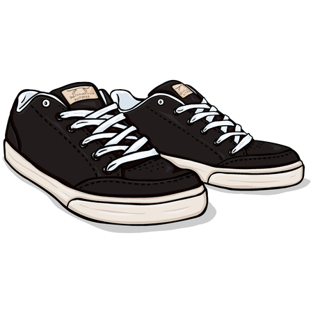skaters: Vector Cartoon Black Skaters Shoes on White Background Illustration
