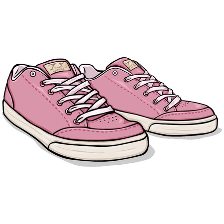 skaters: Vector Cartoon Pink Skaters Shoes on White Background Illustration