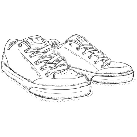 skaters: Vector Sketch Skaters Shoes on White Background Illustration
