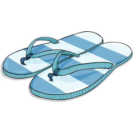 stripped: Vector Cartoon Blue Stripped Beach Slippers on White Background Illustration