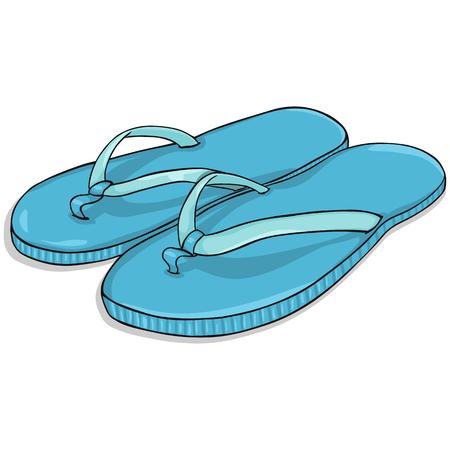 Vector Cartoon Blue Beach Slippers on White Background