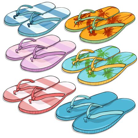 beach slippers: Vector Set of Cartoon Beach Slippers on White Background Illustration