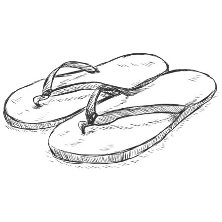 clip art feet: Vector Single Sketch Slippers on White Background