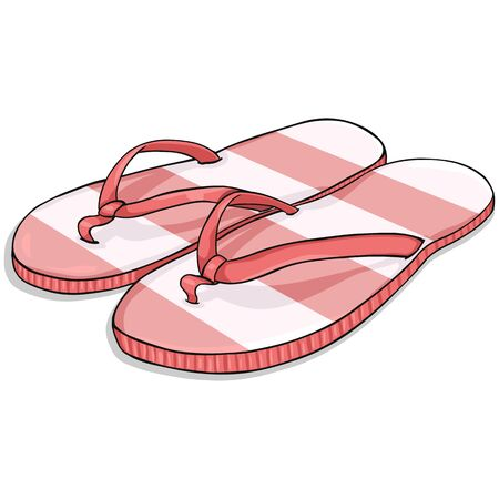 beach slippers: Vector Cartoon Stripped Red Beach Slippers on White Background
