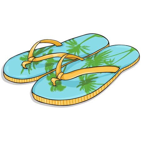 beach slippers: Vector Cartoon Blue-Yellow Beach Slippers with Palms Print
