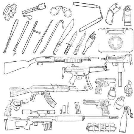 Vector Sketch Big Set of Weapons and Equipment on White Background