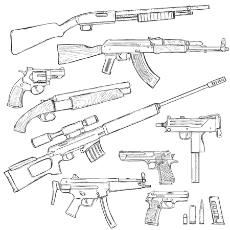 firearm: Vector Sketch Set of Firearm Weapons on White Background Illustration