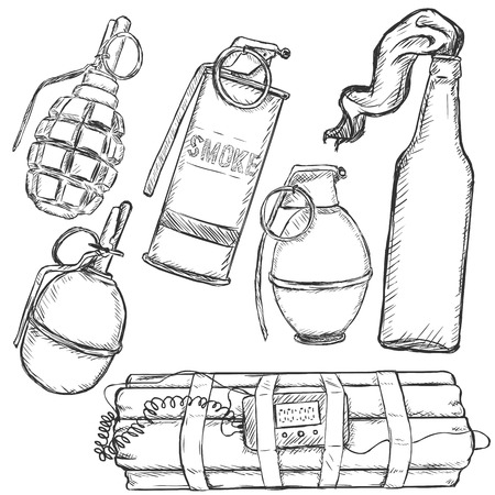 bombshell: Vector Sketch Set of Explosive Weapons on White Background