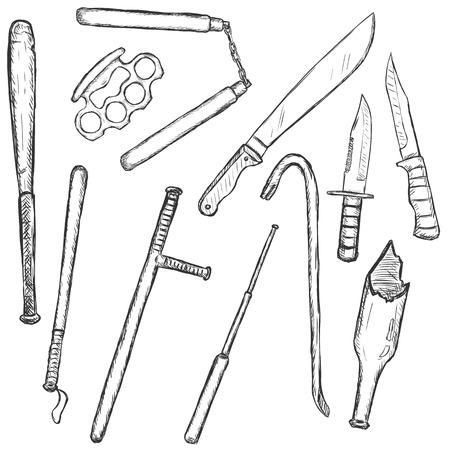 traumatic: Vector Sketch Set of Edged Weapon on White Background Illustration