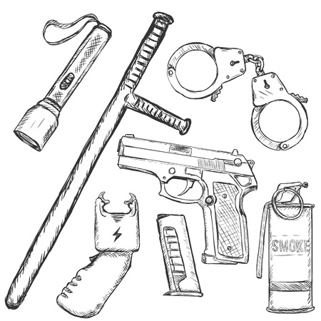 police equipment: Vector Sketch Set of Police Weapon and Equipment on White Background