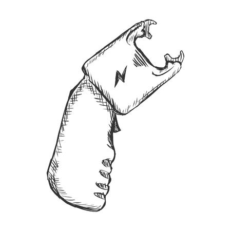 Vector Sketch Stun Gun on White Background