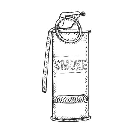 military draft: Vector Sketch Smoke Grenade on White Background Illustration