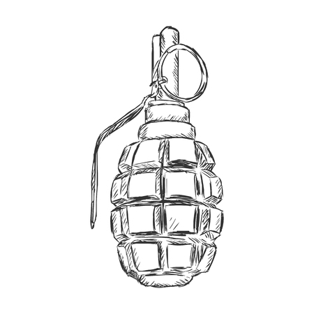 military draft: Vector Sketch Hand Grenade on White Background