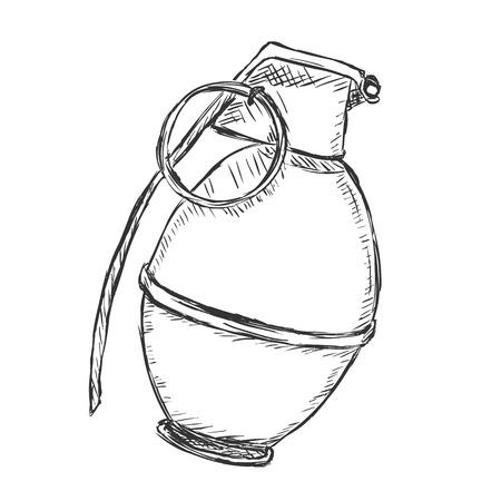 grenade: Vector Sketch Hand Grenade on White Background