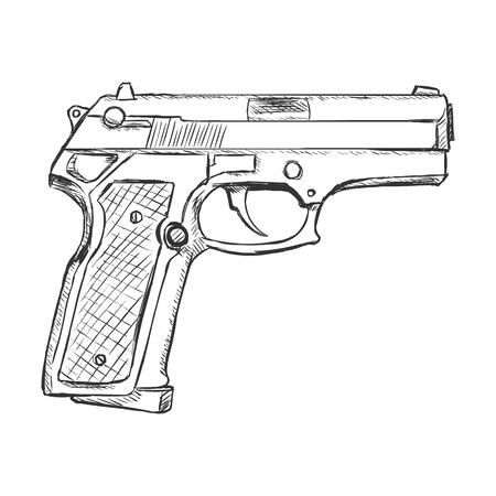 Vector Sketch Beretta Pistol on White Background Illustration