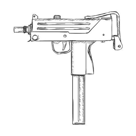 ingram: Vector Sketch Ingram Machine Gun on White Background Illustration