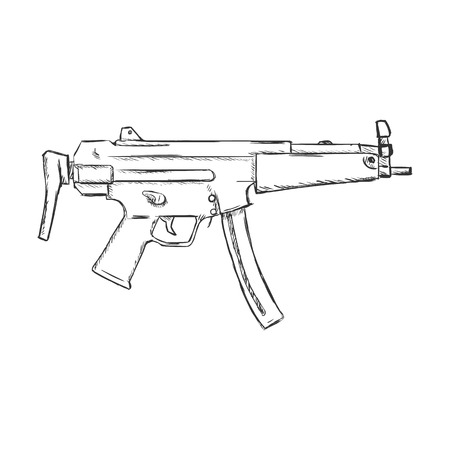 military draft: Vector Sketch SMG Machine Gun on White Background Illustration