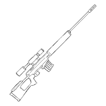military draft: Vector Sketch Sniper Rifle on White Background Illustration