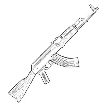 military draft: Vector Sketch AK-47 Machinegun on White Background Illustration
