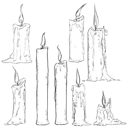 Vector Set of Different Sketch Candles on White Background