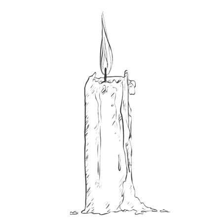 Vector Sketch Single Candle on White Background Illustration