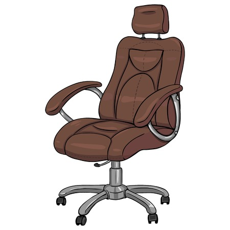 vector cartoon isloted brown office armchair on White Background Illustration